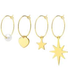 Stainless Steel Pearl Gold Plated Hoop Earrings Accessories Women Earrings