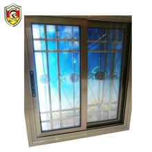 Double toughened glazed aluminium frame glass sliding window with decorative wrought iron window grill design