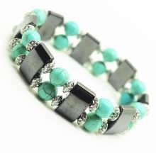 Turquesa 8MM Round Beads Esticar Gemstone espaço pulseira com liga e hematita