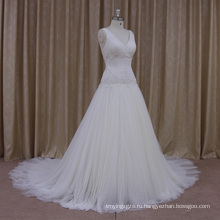 Традиционные платья-линии атласная свадебное платье с ручной цветок