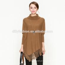 Lã de cashmere colarinho redondo design solto longa bainha borla camisola feminina