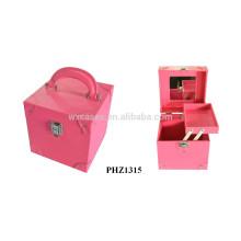 fashional & hohe Qualität PVC Leder Kosmetikkoffer mit Spiegel & ein Tablett innen heiß verkaufen