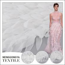 Made for wedding dress embroidery white tassel fringe mesh fabric