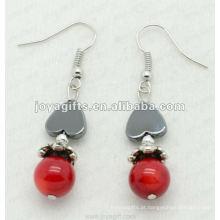 Moda Hematite Coração Beads Brinco, contas de hematita e prata brincos cor brinco hematite brincos 2pcs / set