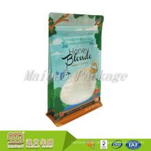 Amostra grátis Personalizado Impresso Plástico Embalagem de Alimentos Oito-Side Seal Side Gusset Quadrado Inferior Ziplock Bag