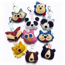 Wholesale Cheap Custom Handmade Blank Wool Fabric Keychain Silk Screen Logo Printing Natural Branded Anime Cartoon Felt Keyring for Promotion Gift