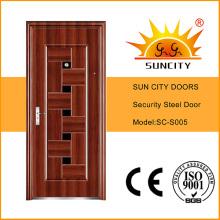 Diseños modernos de la puerta del hierro principal indio de la entrada de la seguridad (SC-S005)