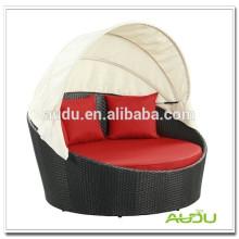 Audu Red Cushion USA Music Wicker Round Rattan Daybed