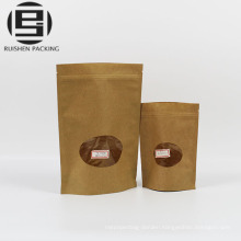 Kraft paper ziplock packaging bags with window