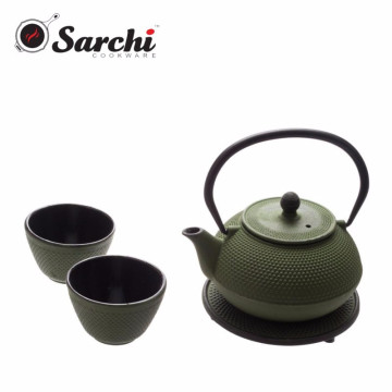 Popular Cast Iron Enamel Teapot 0.8L With Round Trivet