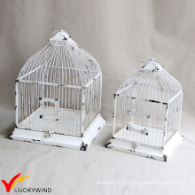 Set 2 Table Square Square Square Shabby White Birdcage