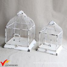 Установить 2 стол Centerpiece площади потертый белый Vintage Birdcage