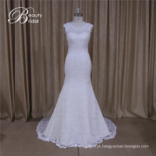 Padrões de vestido de noiva de mangas de boné