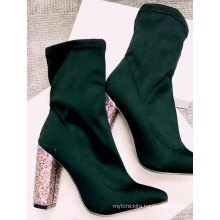 Wholesale Custom Glitter Bling Heels Boots Women Lycra Elastic Ankle Chunky Heel Boots