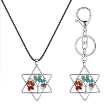 Pentagram Tree of Life pendant Necklace Women Girls Crystal Chakra Tumbled Stones Fashion Jewelry