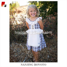 Wholesale checkered dresses children check apron dress