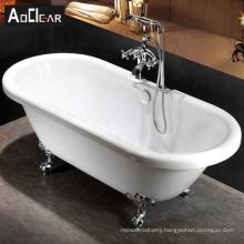 Aokeliya elegant acrylic freestanding bathtub with four feet for sale clawfoot bathtub for one or two person