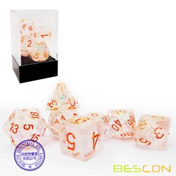 Bescon Shimmery Dice Set Bronze-Golden, RPG 7-dice Set in Brick Box Packing