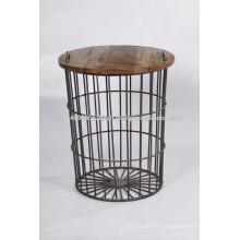 Table d'appoint en fer et en bois