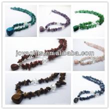 Collar de piedras preciosas Collar con colgante de piedras preciosas caído