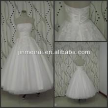 Simple Graceful Appliques Pleast Strapless A-Line Ankle-Length 2013 Wedding Dress
