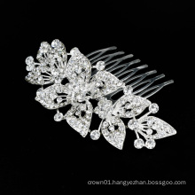 New Design Silver Women  Exquisite Alloy Bling Rhinestone Crystal Hair combs for women for Pageant