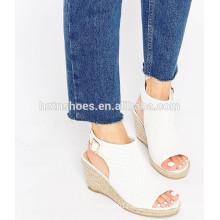 Buckle strap open toe wedge sandal wide fit perforated espadrille jute sole women's shoe