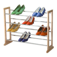 Four Shelves Shoe Rack with Wooden