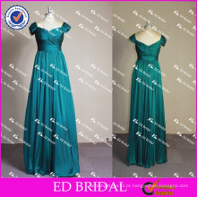 ED Bridal Elegant Sweetheart Neckline Cap Sleeve Low Back Long Esmeralda Green Evening Dresses 2017