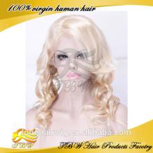 """20"""" Длинные Волнистые Remy Человеческих Волос Glueless Передние Парики Шнурка Блондинка #613"""