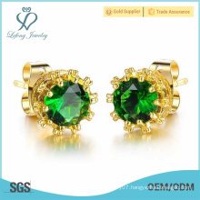 2016 new year gift newest design fashionable gold plating flower earring stud with cz crystal