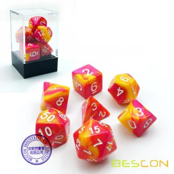 Bescon Gemini Polyhedral Dice Set Sunglow, Two Tone RPG Dice Set of 7 d4 d6 d8 d10 d12 d20 d% Brick Box Pack