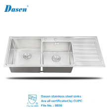 CUPC Used Commercial Handmade Double Bowl Handmade Stainless Steel Inox Enamel Kitchen Sink With Tray