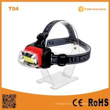 T04 A Melhor Fábrica Cheap COB LED Headlamp AA plástico Camping exterior à prova d'água LED Farol