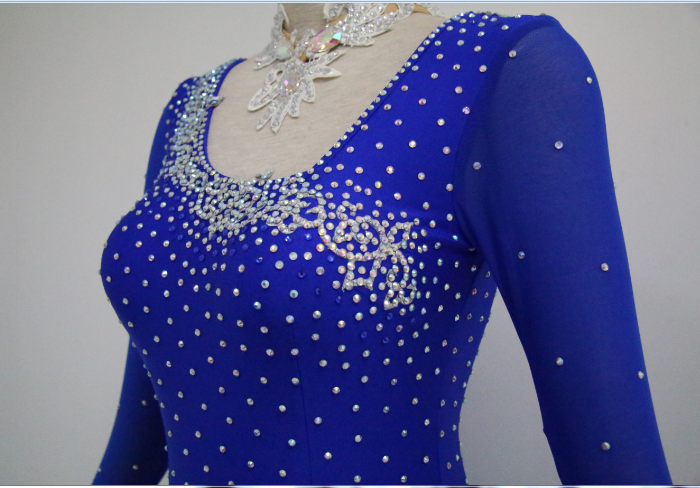 Blue Latin Dance Costumes For Girls
