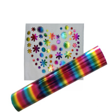 Rainbow color chrome Premium Thermo PET Laser Foil Heat Transfer Film vinyl for clothing logo
