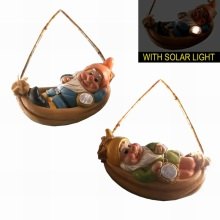 Mignon nain avec lumière solaire Polyresin Gnome de jardin Décoration suspendue