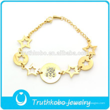 TKB-JB0008 Gorgeous stylish bling jewelry hollow stars golden 316L stainless steel bracelets for women