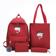 Wholesale factory price four set fashion cartoon custom logo girl middle school backpack bag