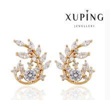 91385 Moda Elegante CZ Diamante Em Forma De Folha 18k Banhado A Ouro De Imitação De Jóias Brinco