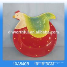 Easter craft ceramic cock plate