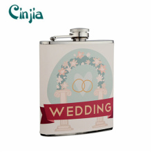 New Design Stainless Steel Wedding Series Hip Flask for Gift (XF-730)