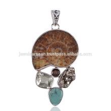 Ammonite e Multi Pedra Bezel Setting 925 Sterling Silver Pendant