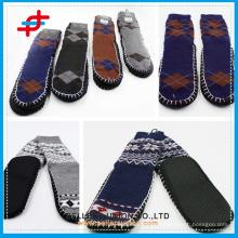 Men Super Thick Indoor Warm Argyle Anti-Slip Stripe Shoe Socks