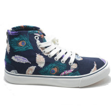 Canvas Flower Cusual Espadrilles Vulcanizaion School Women High Shoes