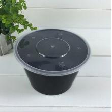 650мл черный пластик для микроволновой печи и морозильник отсек одноразовые еда контейнер с ясной крышкой