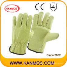 Guantes de trabajo industriales de seguridad de cerdo grano conductor de cuero (22201)
