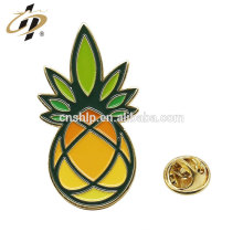 Promotional gift custom soft enamel pineapple lapel pin with butterfly clutch