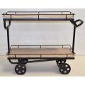 Industrial Design Serving Trolley Cast Iron wheels Mango Wood Lime Finsih