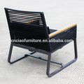 Chaises de patio en métal modernes avec bras en teck et tissu en toile